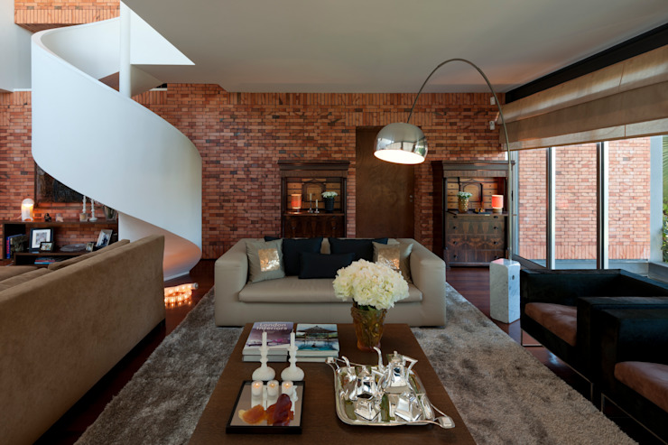 Vista geral sala de estar Salas de estar modernas por B.loft Moderno
