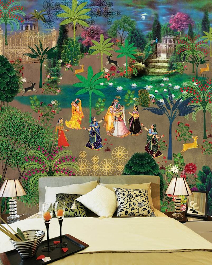Krsna mehta designer wallcoverings : asian  by Wall Art Private Limited,Asian