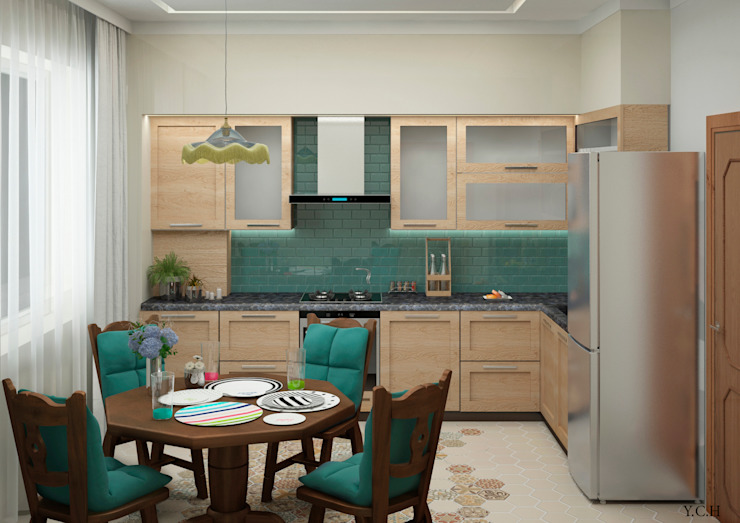 Your Comfortable home Кухня Дерево Бірюза