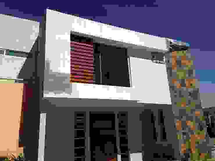 Fachada Contemporanea KMK Construcciones Casas modernas Cerámico Beige