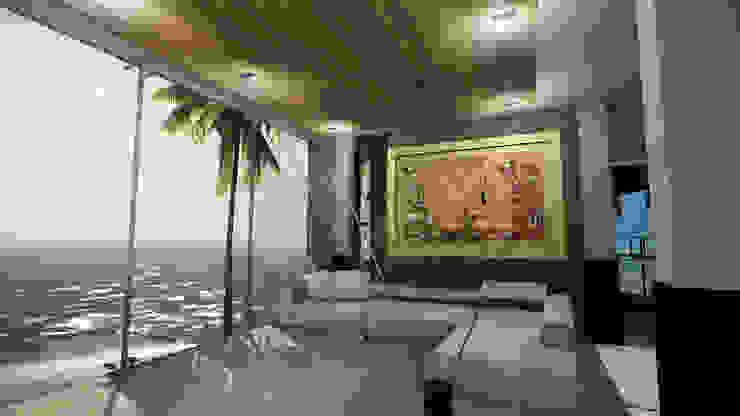 CASA EMR Salones modernos de SG Huerta Arquitecto Cancun Moderno Cerámico