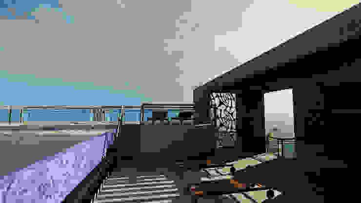 CASA EMR Balcones y terrazas modernos de SG Huerta Arquitecto Cancun Moderno Cerámico