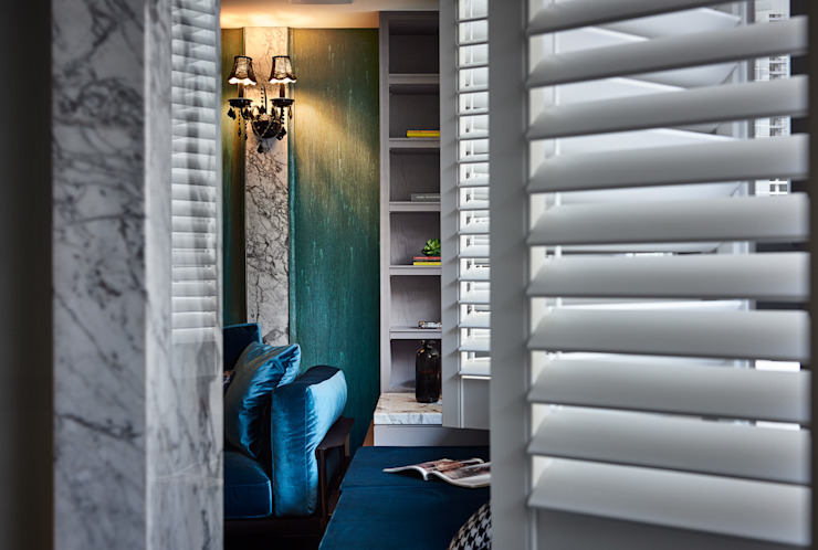 DYD INTERIOR大漾帝國際室內裝修有限公司 Puertas y ventanas de estilo clásico Madera maciza Azul