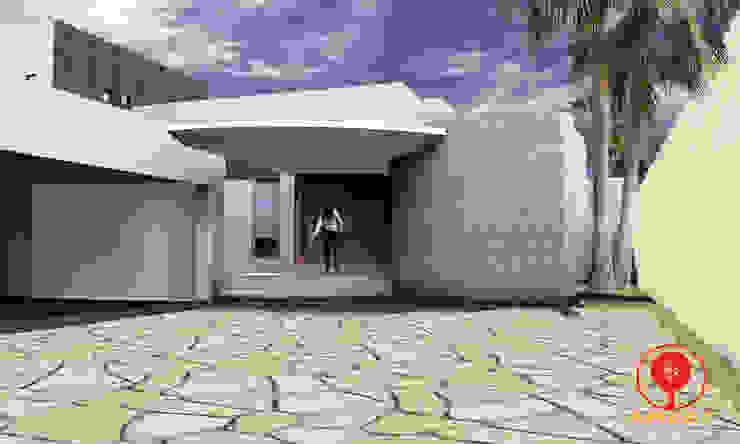 CASA DE LOS PATIOS Casas minimalistas de SG Huerta Arquitecto Cancun Minimalista Concreto