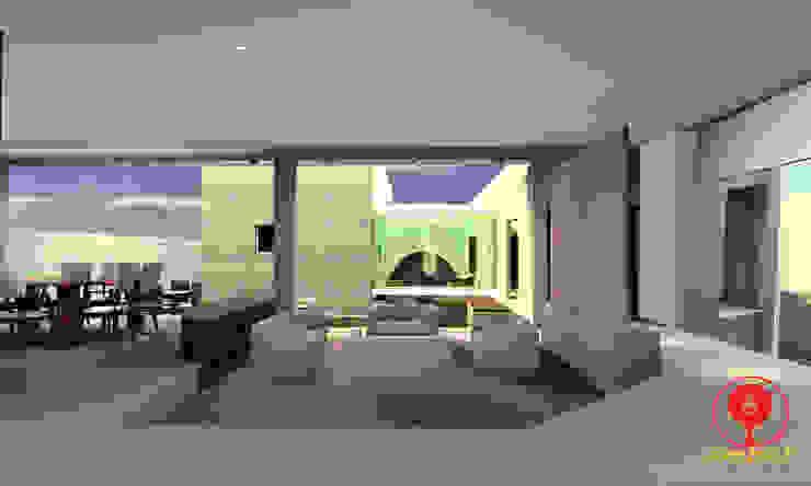 CASA DE LOS PATIOS Salones minimalistas de SG Huerta Arquitecto Cancun Minimalista Mármol