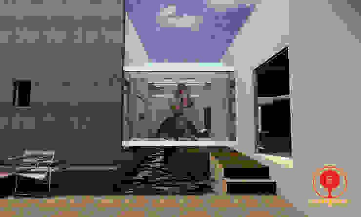 CASA DE LOS PATIOS Balcones y terrazas minimalistas de SG Huerta Arquitecto Cancun Minimalista Madera Acabado en madera