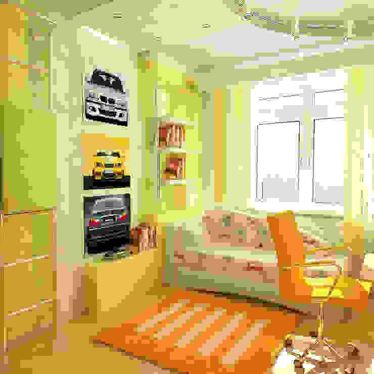 Детская комната 12 кв. м для мальчика в двухкомнатной квартире, современный стиль: Детские комнаты в . Автор – Студия интерьера Дениса Серова, Модерн