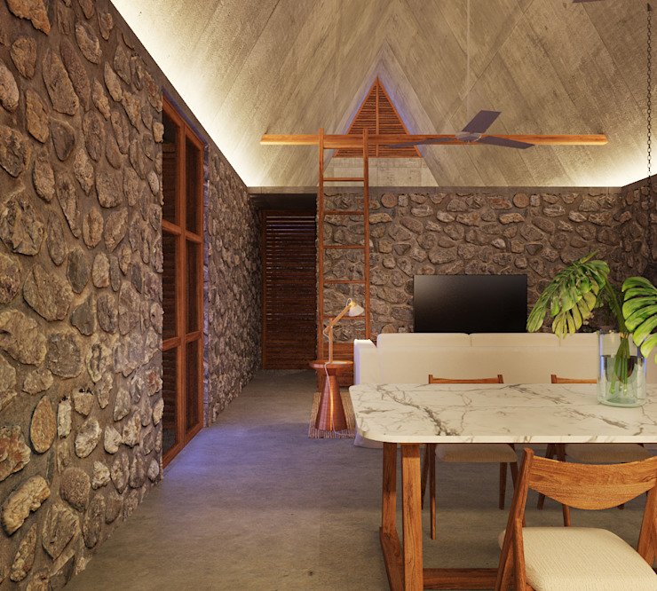 Dining room by La Desarrolladora, Tropical Stone
