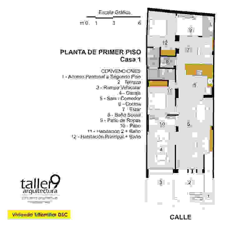 Planta de Primer Piso Casas modernas de TALLER 9, ARQUITECTURA Moderno