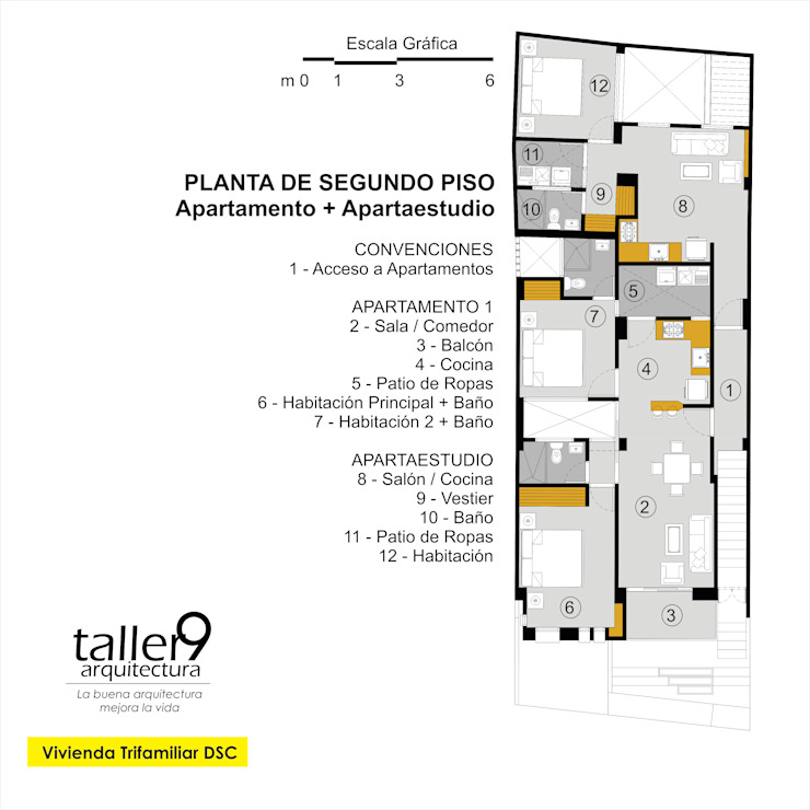 Planta de Segundo Piso Casas modernas de TALLER 9, ARQUITECTURA Moderno
