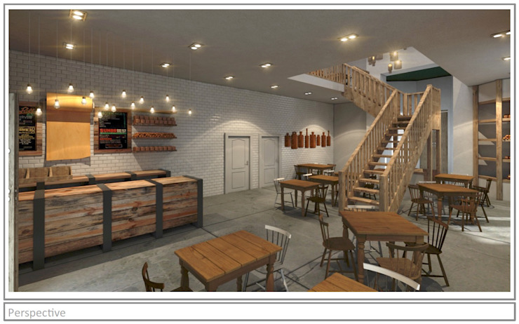 Artisan Cafe' - concept render. Rustic style bars & clubs by Premiere Design Studio Rustic