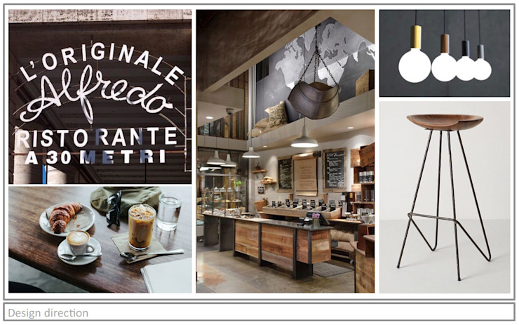 Artisan Cafe' - Mood Board. Rustic style bars & clubs by Premiere Design Studio Rustic