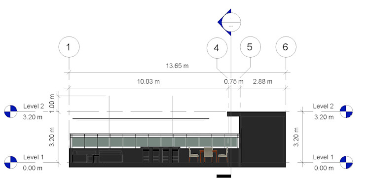 Corte Longitudinal- Terraza CDMX Balcones y terrazas modernos de Arqos Arquitectos Moderno Hierro/Acero
