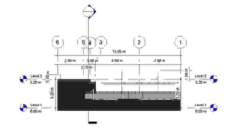 Alzado Lateral Der- Terraza CDMX Balcones y terrazas modernos de Arqos Arquitectos Moderno Hierro/Acero