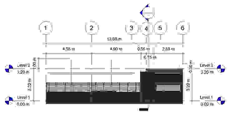 Alzado Lateral Izq- terraza CDMX Balcones y terrazas modernos de Arqos Arquitectos Moderno Hierro/Acero