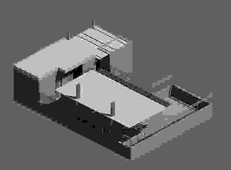 Modelado 3d Revit 2016/Twinmotion Real Time- Terraza CDMX Balcones y terrazas modernos de Arqos Arquitectos Moderno Hierro/Acero