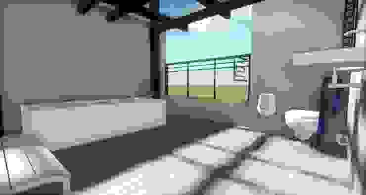 Prueba Render Int -Terraza CDMX Balcones y terrazas modernos de Arqos Arquitectos Moderno Hierro/Acero