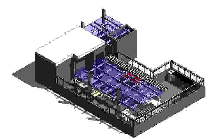 Modela 3d Revit 2016 pre Imprtado- Terraza CDMX Balcones y terrazas modernos de Arqos Arquitectos Moderno Hierro/Acero