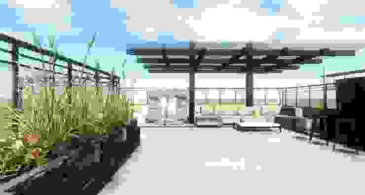 Render Ingreso- Terraza CDMX Arqos Arquitectos Balcones y terrazas modernos Hierro/Acero Beige
