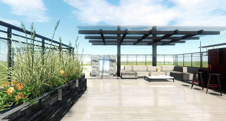 Render Ingreso- Terraza CDMX Balcones y terrazas modernos de Arqos Arquitectos Moderno Hierro/Acero