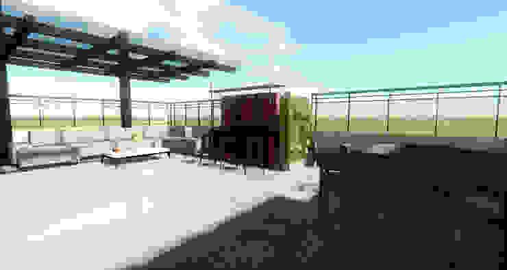Prueba Render Int- Terraza CDMX Balcones y terrazas modernos de Arqos Arquitectos Moderno Hierro/Acero