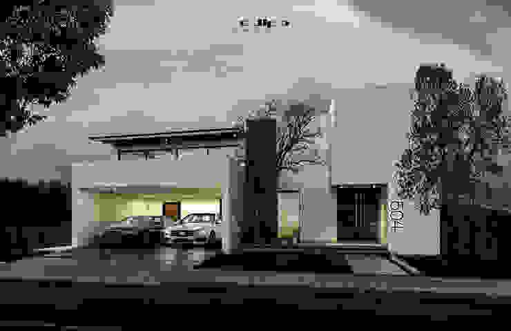 FACHADA CASA.V-H Casas minimalistas de dlp Arquitectos Minimalista