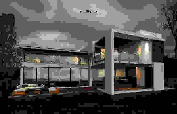 FACHADA POSTERIOR CASA.V-H Casas minimalistas de dlp Arquitectos Minimalista