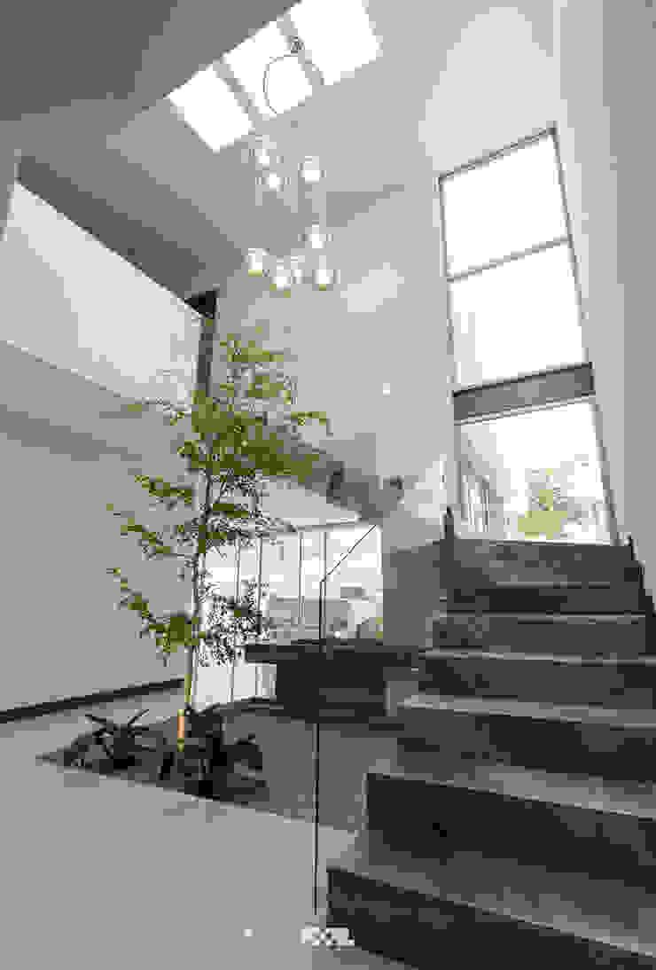 2M Arquitectura 現代風玄關、走廊與階梯 大理石