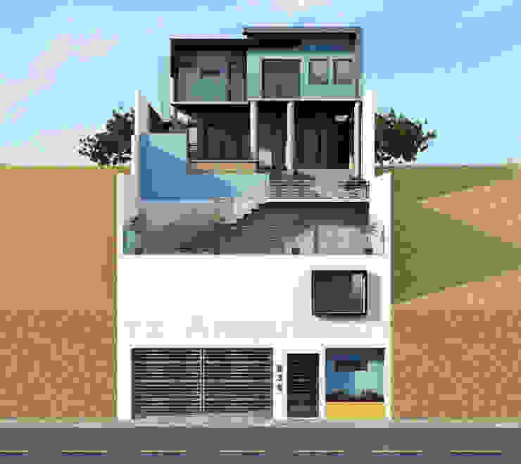 Fachada Posterior - 2do Acceso Casas modernas de Lentz Arquitectura Diseño y Construcción Moderno Concreto reforzado