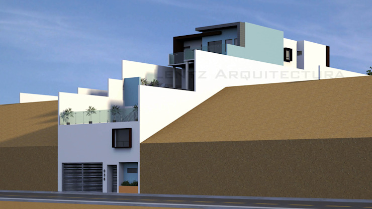 Fachada Lateral 2.1 Casas modernas de Lentz Arquitectura Diseño y Construcción Moderno Concreto reforzado