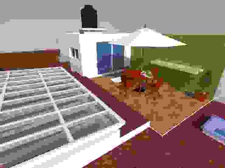 モダンデザインの テラス の MVarquitectos Arq. Irma Mendoza モダン