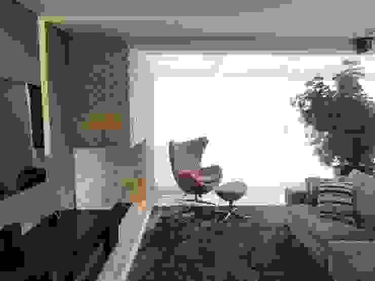 05_Projeto de Interiores Salas de estar modernas por Paula Carvalho Arquitetura Moderno