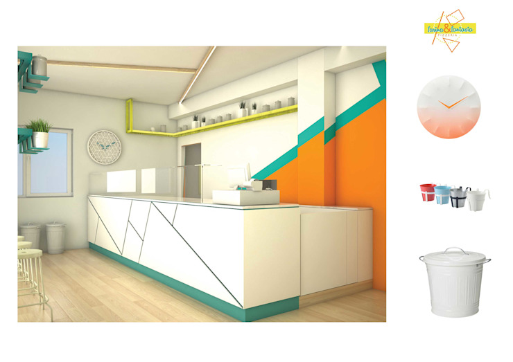 vista 3d M88 studio Pareti & Pavimenti in stile moderno