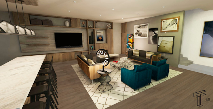 DLLL Modern Media Room by TAMEN arquitectura Modern