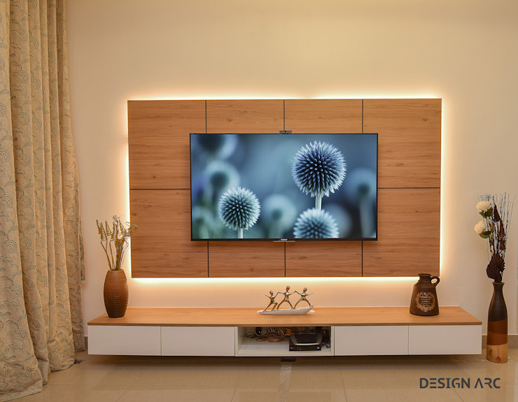 TV Unit Design Design Arc Interiors Interior Design Company Modern Living Room Plywood Wood effect