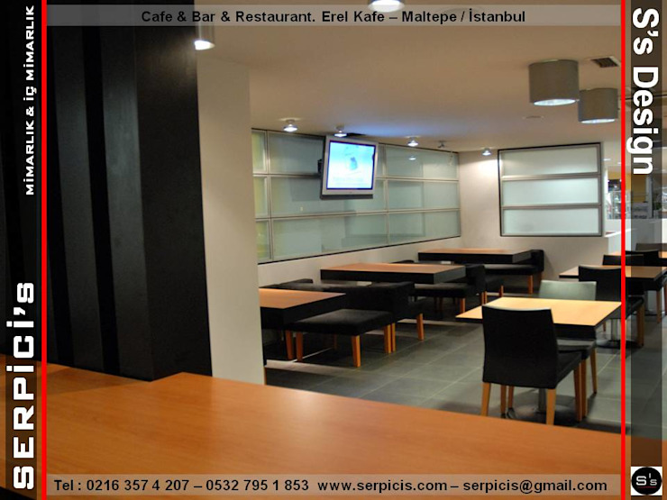 EREL KAFE MALTEPE - KAFE BAR RESTAURANT PROJELERİ - SERPİCİ's MİMARLIK ve İÇ MİMARLIK – S's Desıgn SERPİCİ's Mimarlık ve İç Mimarlık Architecture and INTERIOR DESIGN Modern Aluminyum/Çinko