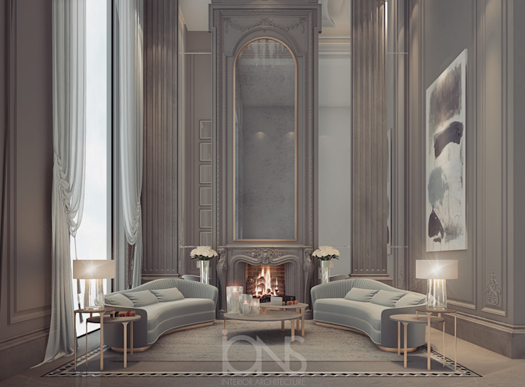 Sitting Room Design in Soothing Earth Colors Classic style living room by IONS DESIGN Classic Stone