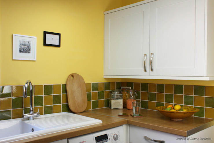 Green & Yellow Wall Tiles | Traditional Range:  Walls by Deiniol Williams Ceramics,