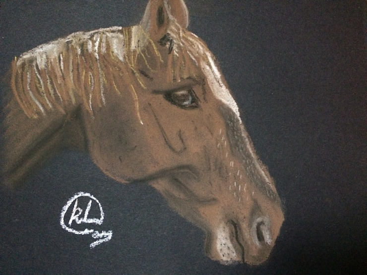 Horse pastel sketch KristinaArtist&Photography ArteCuadros e ilustraciones