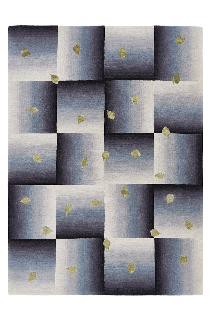 Deirdre Dyson SCATTERED LEAVES hand knotted wool and silk rug de Deirdre Dyson Carpets Ltd Moderno