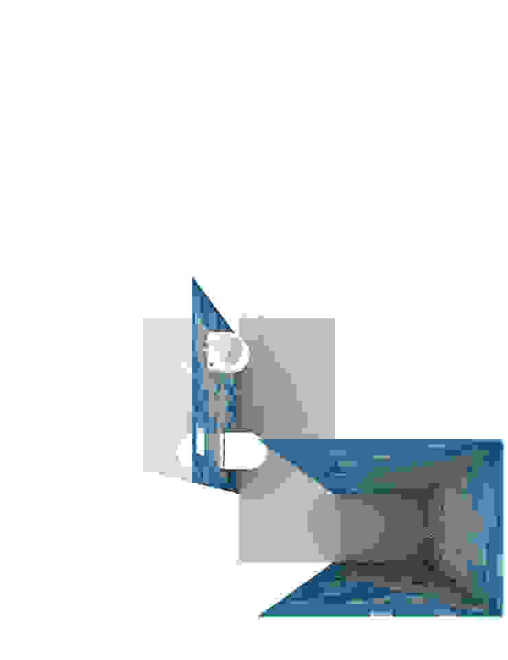 visualization guest bathroom brandt+simon architekten Modern bathroom Tiles Blue