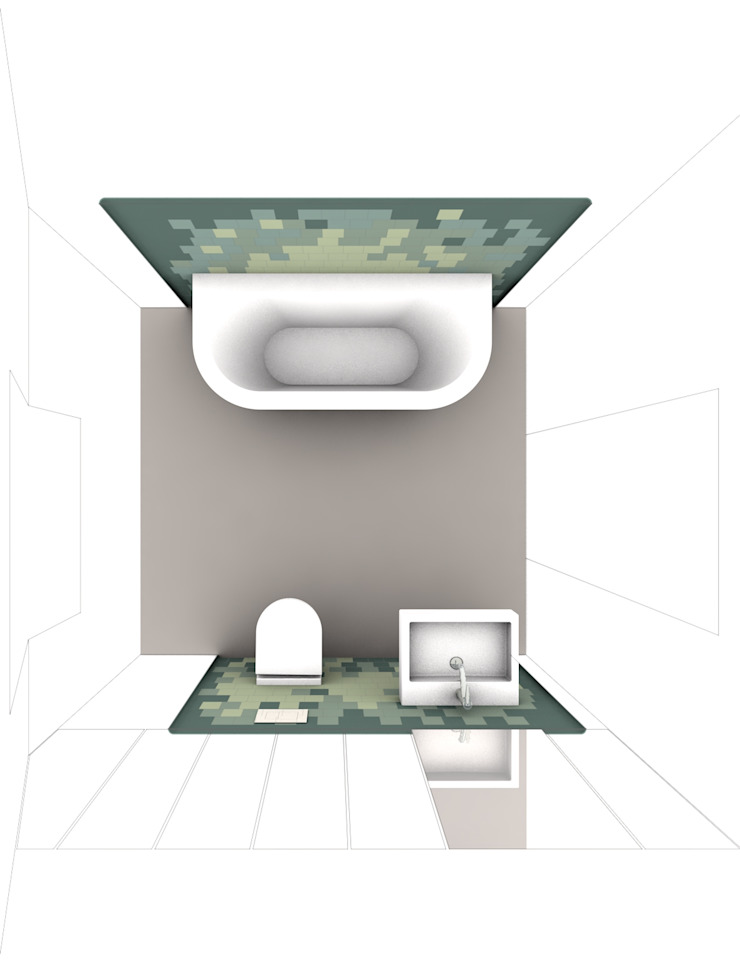 visualization bathroom brandt+simon architekten Modern bathroom Tiles Green