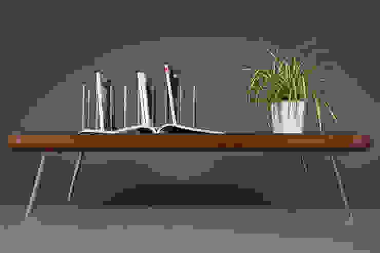 Tavolino da caffè mid century in legno di mogano con gambe in acciaio Ebanisteria Cavallaro Soggiorno in stile scandinavo Legno massello