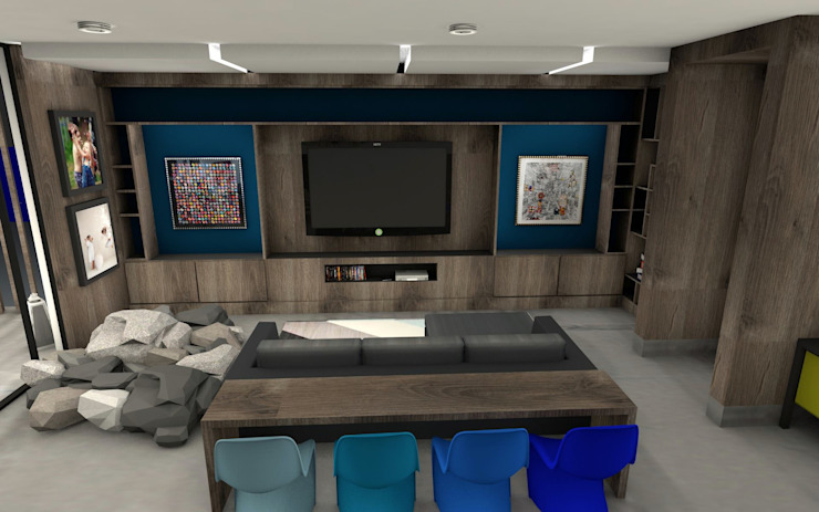 MC Modern Media Room by TAMEN arquitectura Modern