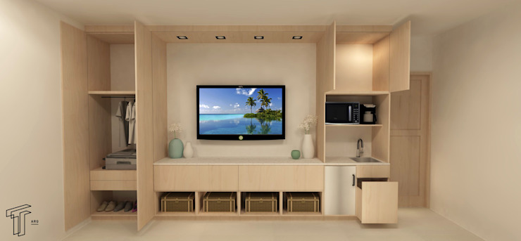 P Modern Media Room by TAMEN arquitectura Modern