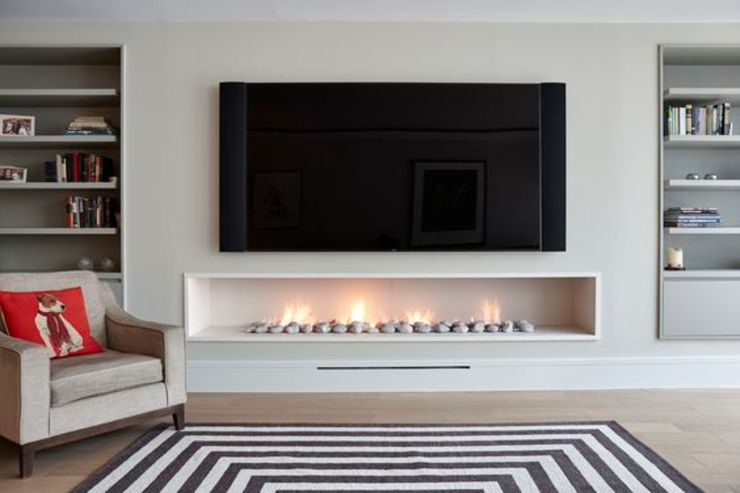 Hole in the wall gas fireplace, contemporary, modern style. من The Platonic Fireplace Company حداثي حجر جيري