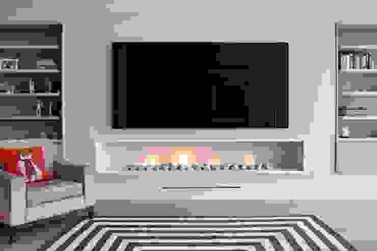 غرفة المعيشة تنفيذ The Platonic Fireplace Company  , حداثي حجر جيري