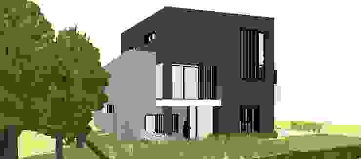 Linkerzijaanzicht voorgevel Moderne huizen van AVENIRarchitecten bvba Modern Aluminium / Zink