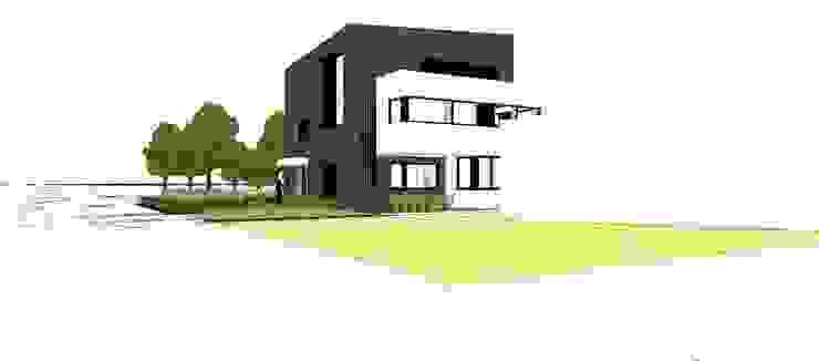 Rechterzijaanzicht voorgevel Moderne huizen van AVENIRarchitecten bvba Modern Glas
