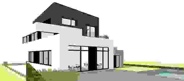 Achteraanzicht Moderne huizen van AVENIRarchitecten bvba Modern Glas